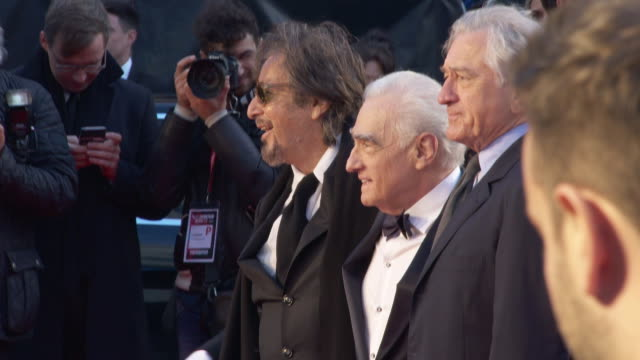al pacino, martin scorsese, robert de niro at 'the irishman' - international premiere - 63rd bfi london film festival closing carpet on october 13,... - premiere stock videos & royalty-free footage