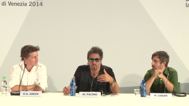 interview al pacino on if films are more depressing now if his films are michael corleone would have been depressed at 'manglehorn' press conference... - al pacino stock videos & royalty-free footage