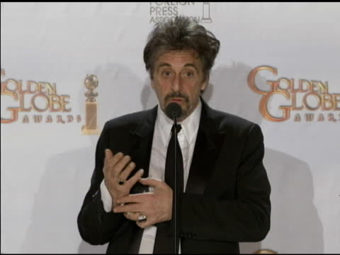 stockvideo's en b-roll-footage met al pacino on what he does with his awards at the 68th annual golden globe awards press room at beverly hills ca - al pacino