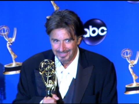 al pacino winner of outstanding lead actor in a miniseries or a movie for 'angels in america' at the 2004 primetime emmy awards press room at the... - al pacino stock videos & royalty-free footage