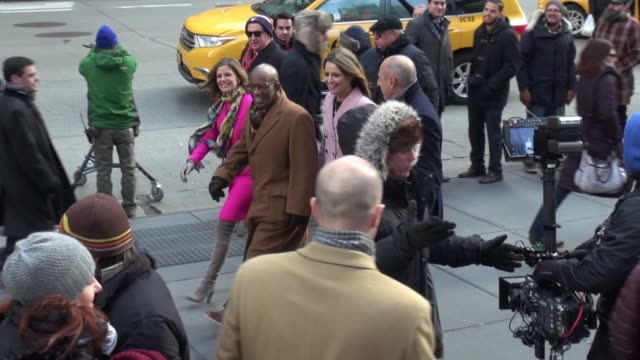 al roker, natalie morales, savannah guthrie, and matt lauer on the streets for a nbc commercial in celebrity sightings in new york, - al roker stock videos & royalty-free footage