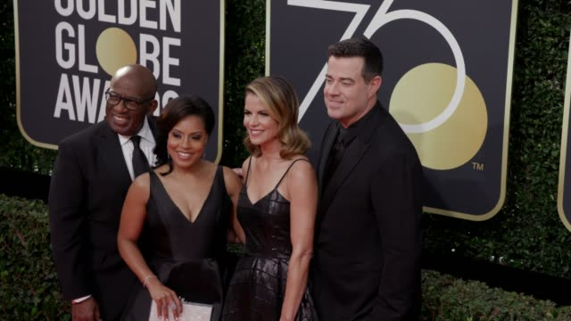 al roker, sheinelle jones, natalie morales and carson daly at the 75th annual golden globe awards at the beverly hilton hotel on january 07, 2018 in... - sheinelle jones stock videos & royalty-free footage