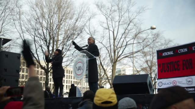 al sharpton president of national action network speaks during the postmarch rally december 13 washington dc thousands of people gather in the... - al sharpton stock videos & royalty-free footage