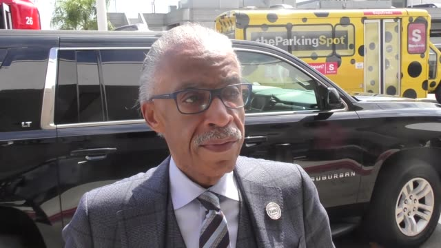 interview al sharpton talks about floyd mayweather jr supporting donald trump while departing at lax airport in los angeles in celebrity sightings in... - al sharpton stock videos & royalty-free footage
