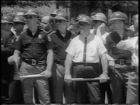 Alabama National Guard standing with nightsticks during desegregation of U of Alabama