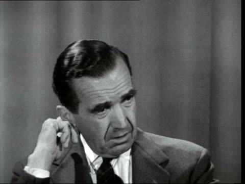 ed murrow interview 2 england london int cs ed murrow sof i don't think it is one of despair i think it is an indication of gradual very gradual of... - only young men stock videos & royalty-free footage