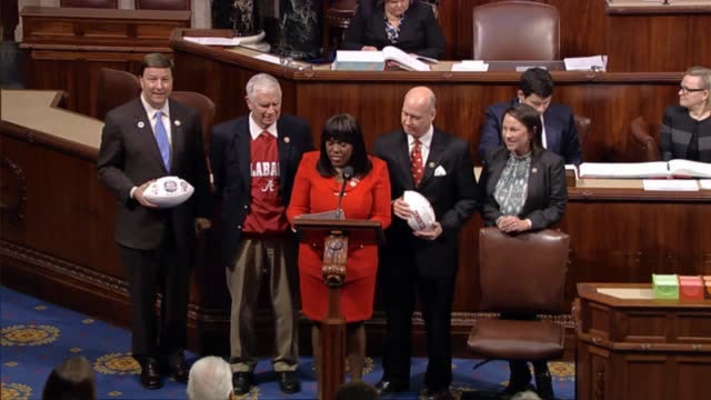 alabama rep terri sewell of montgomery is joined by house colleagues in congratulating the alabama crimson tide on its win the night before against... - crimson tide stock videos & royalty-free footage