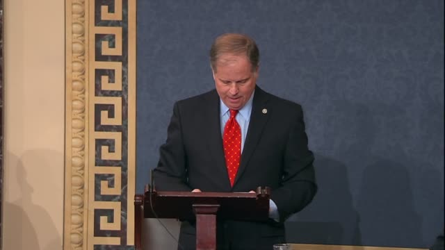 Alabama Senator Doug Jones begins his maiden speech to the Senate by thinking those who welcomed him despite wintry rather pausing to think his wife...