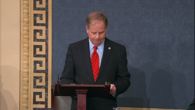 Alabama Senator Doug Jones says during his maiden speech to the Senate there for too long gridlock and partisanship stood in the way of compromise...