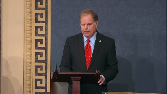 Alabama Senator Doug Jones says during his maiden speech to the Senate that he is seen firsthand as a US Attorney what happens when weapons are in...