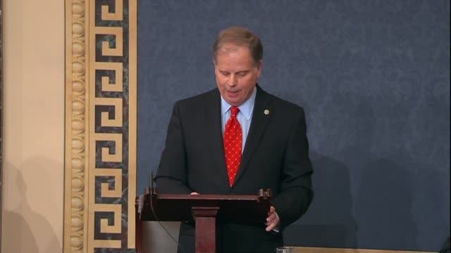 Alabama Senator Doug Jones says during his maiden speech to the Senate that for every action there was an equal and opposite reaction not just a...