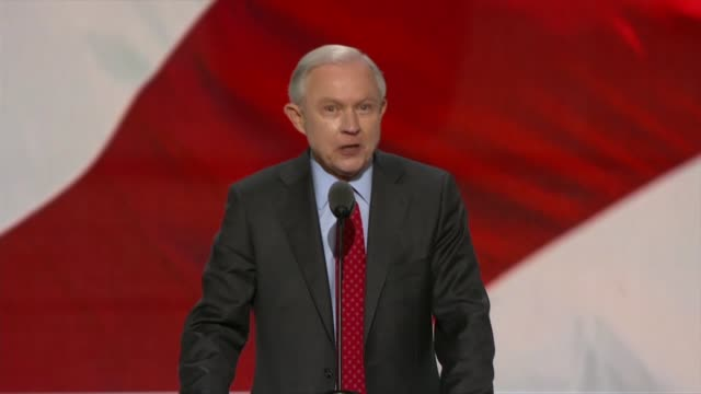 alabama senator jeff sessions of alabama says in nominating donald trump for president at the 2016 republican national convention that voters heard... - präsidentenwahl stock-videos und b-roll-filmmaterial