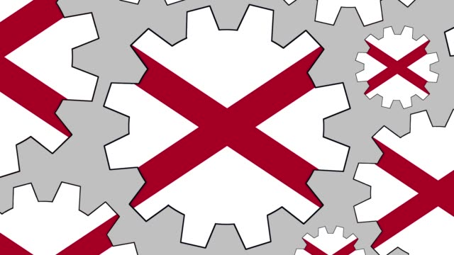 alabama us state flag gears spinning background zooming out - alabama us state stock videos & royalty-free footage