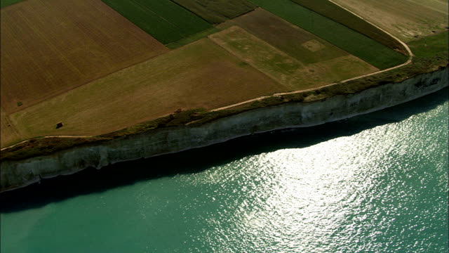 alabaster coast  - aerial view - haute-normandie, seine-maritime, france - normandy stock videos and b-roll footage