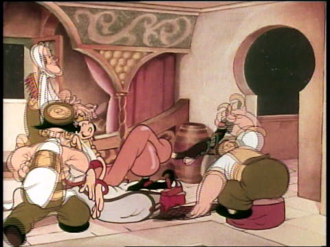 1939 montage aladdin cartoon olive oyl as the princess being pampered - painting toenails stock videos & royalty-free footage
