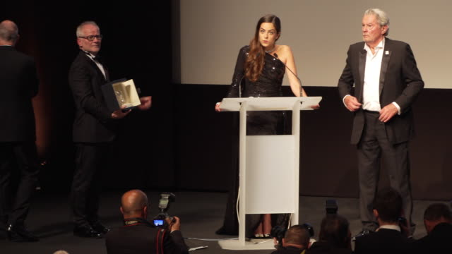 Alain Delon receiving the Honorary Palme d'or The 72nd Cannes Film Festival on May 19 2019 in Cannes France