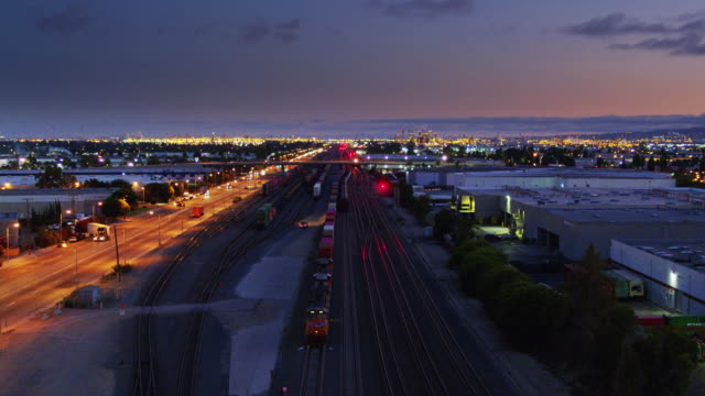 alameda corridor, los angeles - aerial shot - rail freight stock videos and b-roll footage