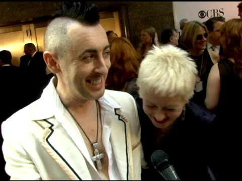 alan cumming and cyndi lauper on being confident jim dale and what they're wearing at the 60th annual tony awards at radio city music hall in new... - radio city music hall stock videos & royalty-free footage