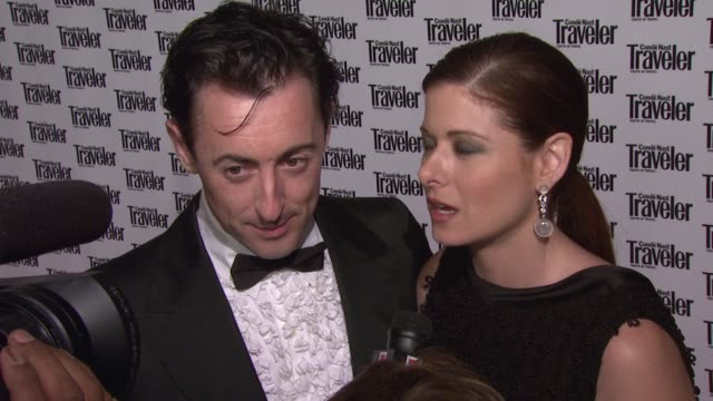 alan cumming and debra messing at the conde nast traveler celebrates 20 years of truth in travel at the cooperhewitt national design museum in new... - debra messing stock-videos und b-roll-filmmaterial