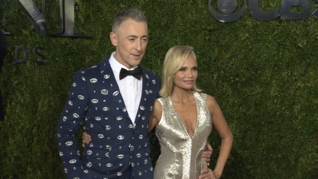 alan cumming and kristin chenoweth at 2015 tony awards arrivals at radio city music hall on june 07 2015 in new york city - annual tony awards stock videos and b-roll footage