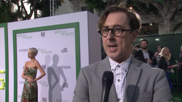 interview alan cumming talks about importance of the movie at battle of the sexes los angeles premiere presented by fox searchlight at regency... - regency village theater stock videos & royalty-free footage