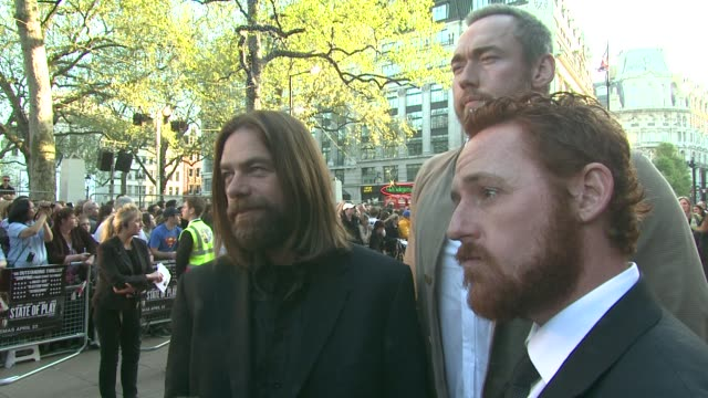 alan doyle, kevin durand, and scott grimes on working with russell crowe on the new robin hood movie, and what people can expect from it at the state... - russell crowe stock videos & royalty-free footage