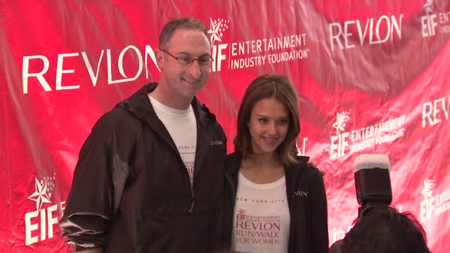 alan ennis and jessica alba at the 14th annual entertainment industry foundation revlon run/walk for women at new york ny - revlon stock videos and b-roll footage