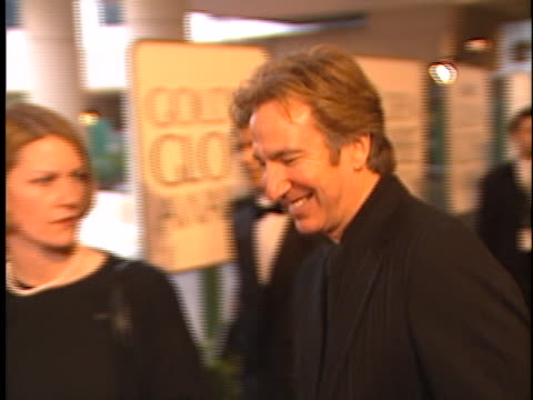 alan rickman at the golden globes 98 at beverly hilton hotel beverly hills in beverly hills ca - the beverly hilton hotel stock-videos und b-roll-filmmaterial