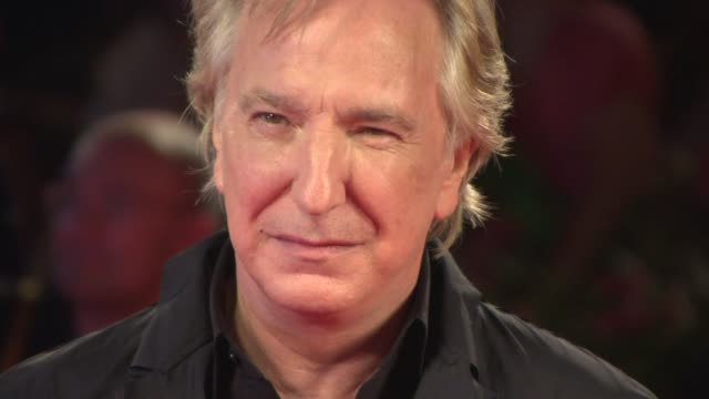 alan rickman at the 'une promesse ' red carpet in venice, italy, on 9/4/13. - アラン・リックマン点の映像素材/bロール