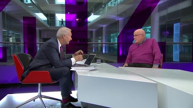 alan rickman dies aged 69; england: london: gir: int richard wilson live studio interview sot - アラン・リックマン点の映像素材/bロール