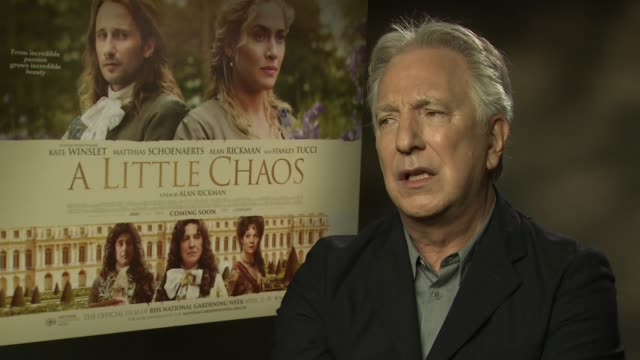 alan rickman on his character, sympathy for the royals at 'a little chaos interviews' at soho hotel on april 14, 2015 in london, england. - アラン・リックマン点の映像素材/bロール