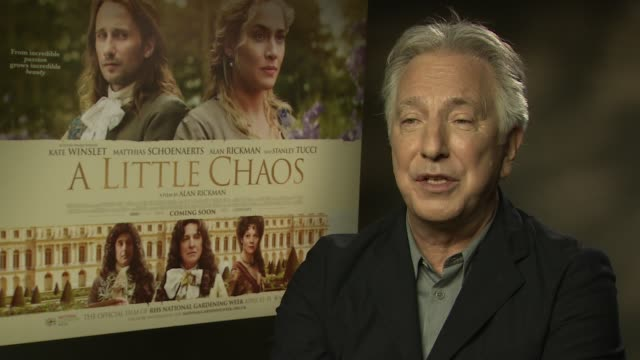 alan rickman on kate winslet, being back in the water, the cold british weather at 'a little chaos interviews' at soho hotel on april 14, 2015 in... - アラン・リックマン点の映像素材/bロール
