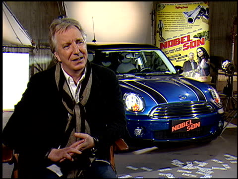 alan rickman on whether he had a professor like his character. at the 'nobel son' junket at los angeles ca. - アラン・リックマン点の映像素材/bロール
