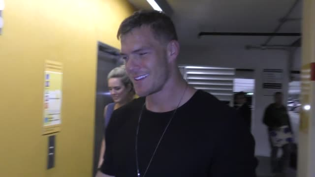 alan ritchson leaves the super troopers 2 premiere at arclight cinemas in hollywood in celebrity sightings in los angeles - super troopers 2 stock videos & royalty-free footage