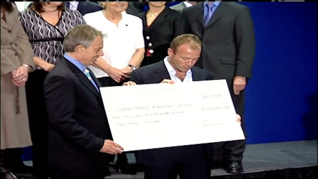 Alan Shearer hands over 164 million to charity / Tony Blair pays tribute to Shearer ENGLAND Newcastle INT Tony Blair MP along with Alan Shearer /...