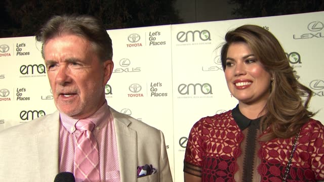 interview alan thicke tanya callau on what brings them out tonight at 25th annual environmental media awards in los angeles ca - environmental media awards stock videos & royalty-free footage