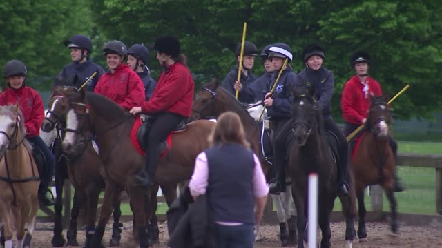 alan titchmarsh interview; england: windsor: ext horses on parade ground and children playing in horse costumes / various shots people and horses on... - alan titchmarsh stock videos & royalty-free footage