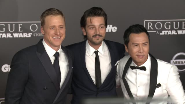 Alan Tudyk Diego Luna and Donnie Yen at Rogue One A Star Wars Story World Premiere at the Pantages Theatre on December 10 2016 in Hollywood California