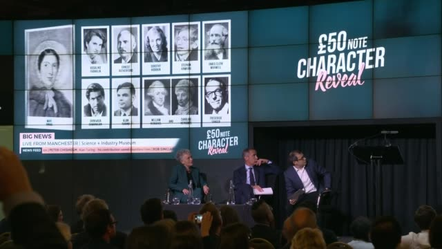 stockvideo's en b-roll-footage met alan turing to be new face of fifty pound note; england: manchester: science and industry museum: int various of event mark carney press conference... - alan turing