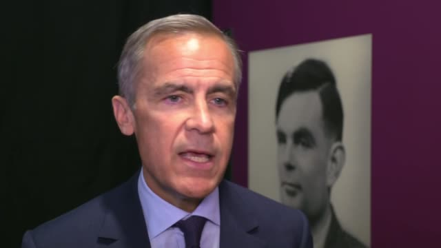stockvideo's en b-roll-footage met alan turing to be new face of fifty pound note; england: manchester: science and industry museum: mark carney with reporter and interview sot - alan turing