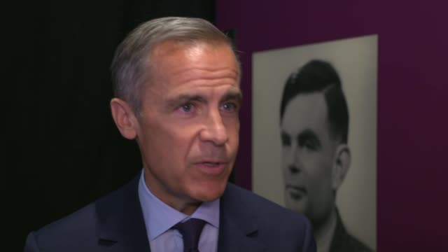stockvideo's en b-roll-footage met alan turing to be new face of fifty pound note; england: manchester: science and industry museum: int mark carney interview sot - alan turing