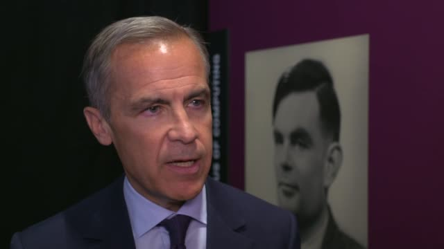 stockvideo's en b-roll-footage met alan turing to feature on new 50 pound banknote: mark carney interview; england: manchester: science and industry museum: int mark carney interview... - alan turing