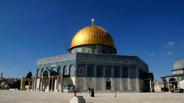 al-aqsa mosque with the dome of the rock/ jerusalem old city - israel stock-videos und b-roll-filmmaterial