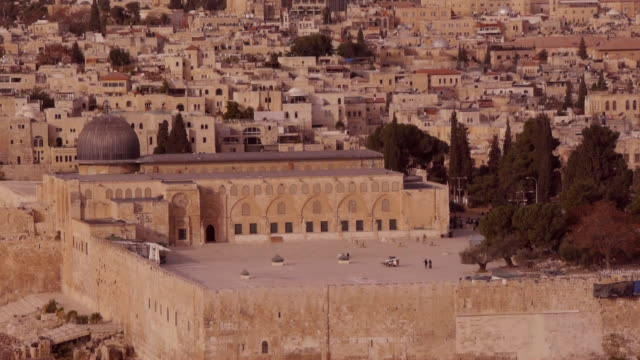 al-aqsa-mosque in jerusalem old city seen from above - science fiction film stock videos & royalty-free footage