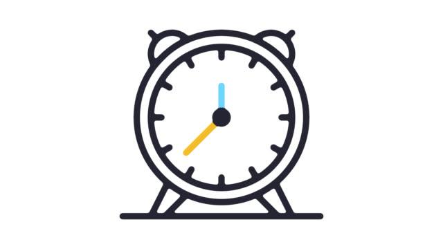 Alarm Clock Line Icon Animation with Alpha