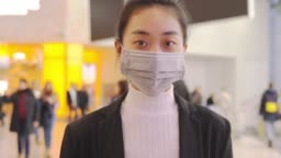 Alarmed female traveler wears medical mask China