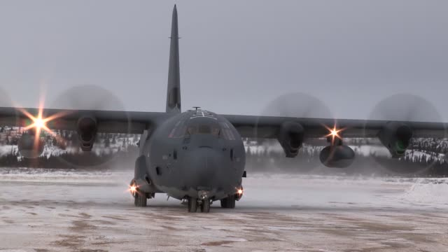Alaska Air National Guard C130 lands on a remote dirt airstrip at the Donnelly Training Area Alaska to deliver visitors during Arctic Eagle 2018