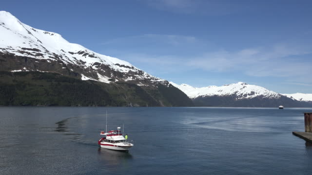 alaska boat in an arm of prince william sound - prince william stock videos & royalty-free footage