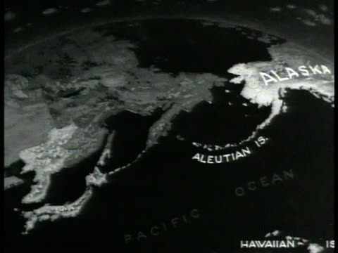 map alaska map w/ highlighted aleutian islands attu at tip w/ japan possessions mainland japan highlighted ussr bering straights highlighted - aleutian islands stock videos and b-roll footage