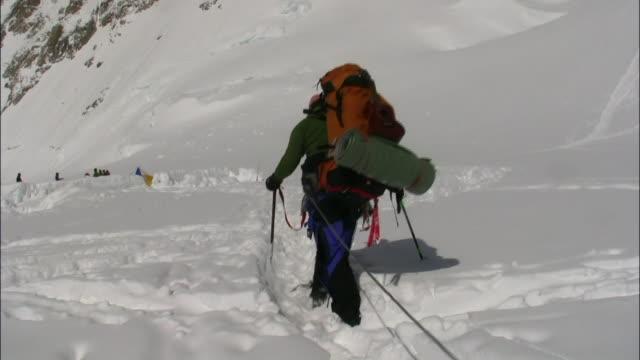 vídeos de stock, filmes e b-roll de alaska mckinley - corda de escalada